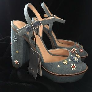 Zara platforms, flower embellishments. USA Size 8